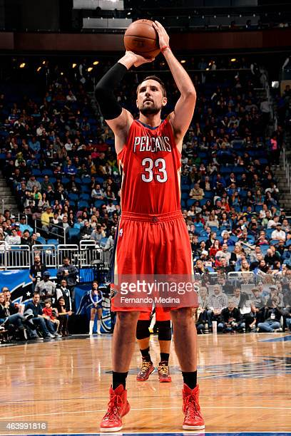 Ryan Anderson of the New Orleans Pelicans attempts a free throw against the Orlando Magic on February 20 2015 at Amway Center in Orlando Florida NOTE...