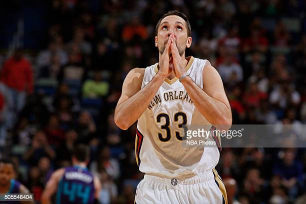 Ryan Anderson of the New Orleans Pelicans celebrates during the game against the Charlotte Hornets on January 15 2016 at the Smoothie King Center in...