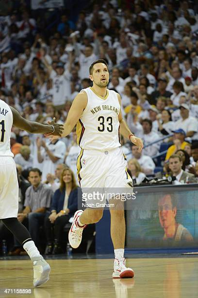 Ryan Anderson of the New Orleans Pelicans during Game Four of the Western Conference Quarterfinals against the Golden State Warriors during the NBA...