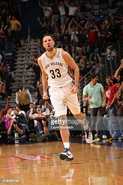 Ryan Anderson of the New Orleans Pelicans during the game against the Portland Trail Blazers on March 18 2016 at Smoothie King Center in New Orleans...