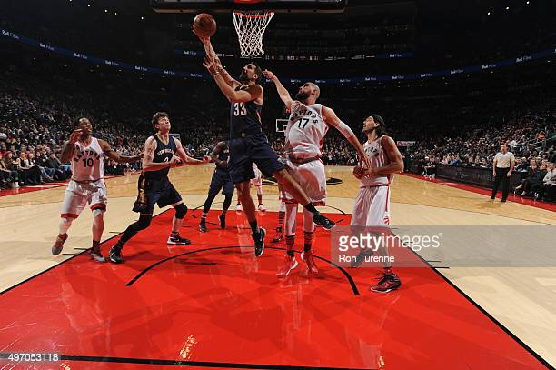 Ryan Anderson of the New Orleans Pelicans goes to the basket against the Toronto Raptors on November 13 2015 at the Air Canada Centre in Toronto...