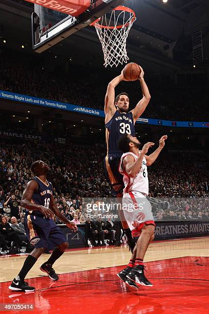Ryan Anderson of the New Orleans Pelicans grabs the rebound against the Toronto Raptors on November 13 2015 at the Air Canada Centre in Toronto...