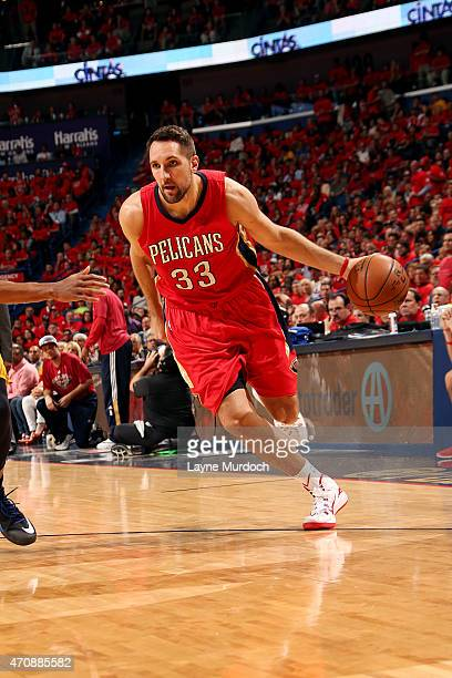 Ryan Anderson of the New Orleans Pelicans handles the ball against the Golden State Warriors in Game Three of the Western Conference Quarterfinals...