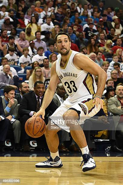Ryan Anderson of the New Orleans Pelicans handles the ball during a game against the Golden State Warriors at the Smoothie King Center on October 31...
