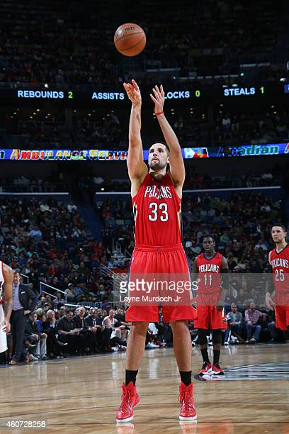 Ryan Anderson of the New Orleans Pelicans shoots against the Portland Trail Blazers during the game on December 20 2014 at Smoothie King Center in...