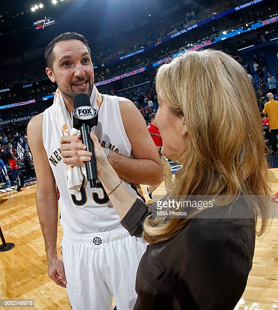 Ryan Anderson of the New Orleans Pelicans talks to the media after the game against the Charlotte Hornets on January 15 2016 at the Smoothie King...