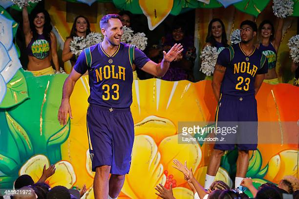 7a01fb38c7f0 Ryan Anderson of the New Orleans Pelicans unveils thei Mardi Grasthemed  Pride uniforms to be worn