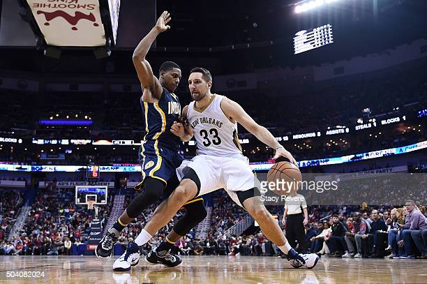 Ryan Anderson of the New Orleans Pelicans works against Glenn Robinson III of the Indiana Pacers during the second half of a game at Smoothie King...
