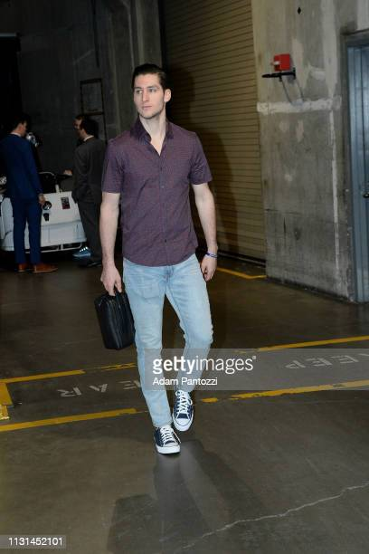 Ryan Arcidiacono of the Chicago Bulls arrives to the game against the LA Clippers on March 15 2019 at STAPLES Center in Los Angeles California NOTE...