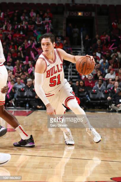 Ryan Arcidiacono of the Chicago Bulls handles the ball against the Indiana Pacers during a preseason game on October 10 2018 at the United Center in...