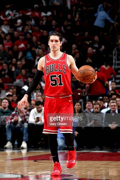 Ryan Arcidiacono of the Chicago Bulls handles the ball during the game against the Milwaukee Bucks on February 11 2019 at the United Center in...
