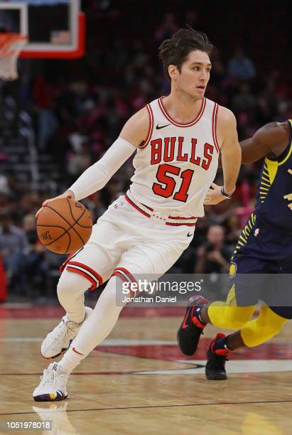 Ryan Arcidiacono of the Chicago Bulls moves against the Indiana Pacers during a preseason game at the United Center on October 10 2018 in Chicago...
