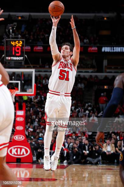 Ryan Arcidiacono of the Chicago Bulls shoots the ball against the Denver Nuggets during a preseason game on October 12 2018 at the United Center in...