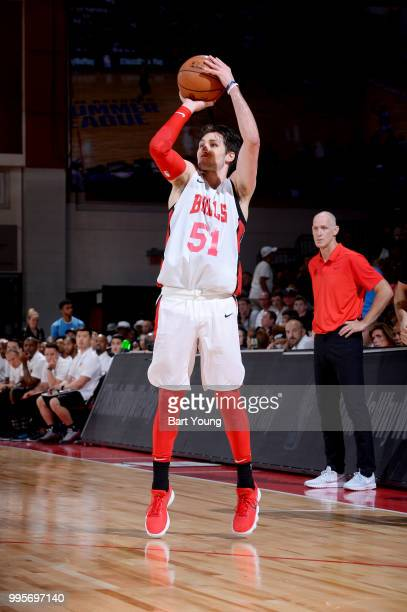 Ryan Arcidiacono of the Chicago Bulls shoots the ball against the Atlanta Hawks during the 2018 Las Vegas Summer League on July 10 2018 at the Cox...