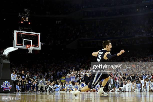 Ryan Arcidiacono of the Villanova Wildcats celebrates defeating the North Carolina Tar Heels 77-74 to win the 2016 NCAA Men's Final Four National...