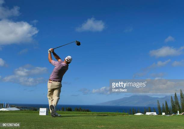 Ryan Armour hits the first tee shot of the 2018 New Year on the PGA TOUR during the first round of the Sentry Tournament of Champions at Plantation...