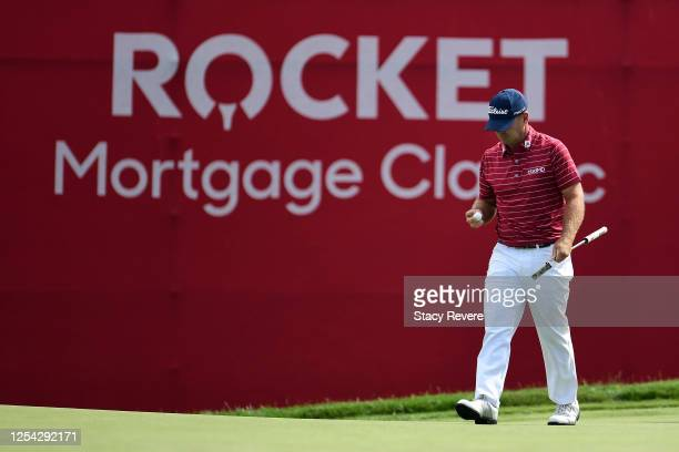 Ryan Armour of the United States reacts to his birdie on the 15th green during the third round of the Rocket Mortgage Classic on July 04, 2020 at the...