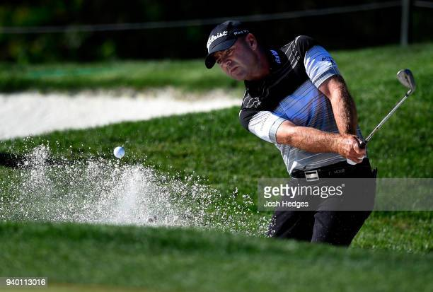 Ryan Armour plays a shot from the bunker near the seventh green during the second round of the Houston Open at the Golf Club of Houston on March 30...
