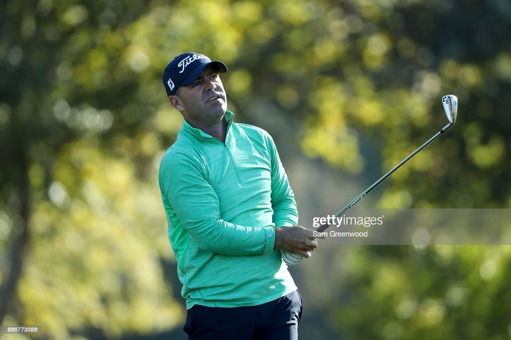 Ryan Armour plays his shot from the 17th tee during the First Round of the Sanderson Farms Championship at the Country Club of Jackson on October 26, 2017 in Jackson, Mississippi.