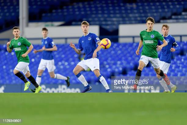 Ryan Astley of Everton during the FA Youth Cup match between Everton and Brighton Hove Albion at Goodison Park on February 12 2019 in Liverpool...