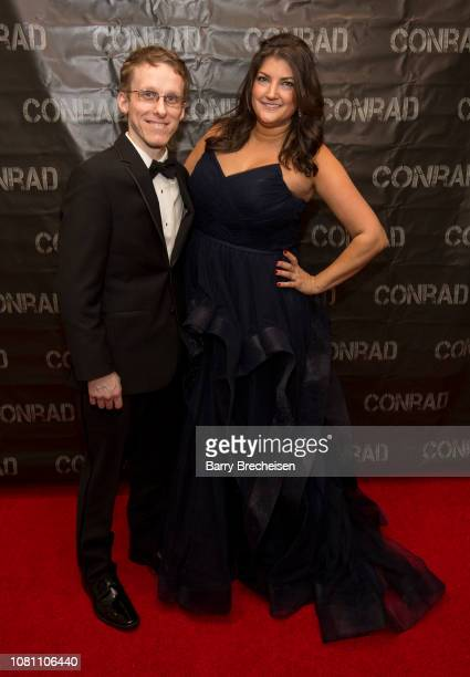 Ryan Atkins and Jennifer Karum during the Conrad series premier screening at the Gene Siskel Film Center on December 2 2018 in Chicago Illinois