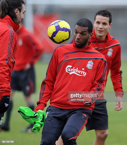 Ryan Babel in action during a Liverpool team training session at Melwood training ground on January 25 2010 in Liverpool England