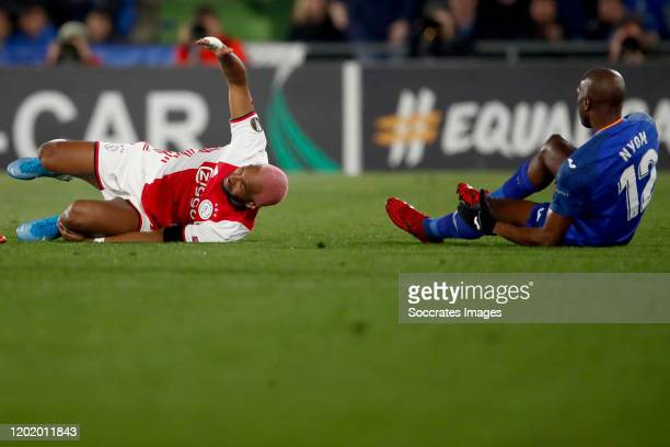 Ryan Babel of Ajax Allan Nyom of Getafe during the UEFA Europa League match between Getafe v Ajax at the Coliseum Alfonso Perez on February 20 2020...