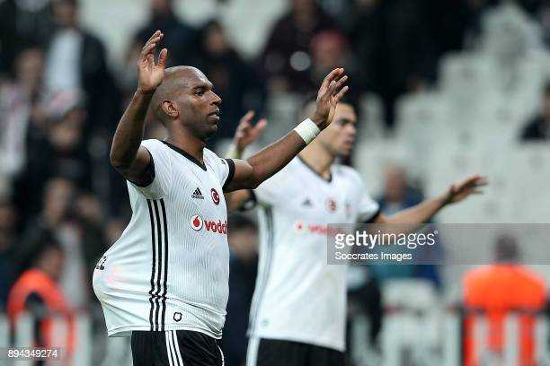 Ryan Babel of Besiktas celebrates the victory with the match ball after his hattrick during the Turkish Super lig match between Besiktas v...