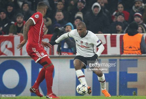 Ryan Babel of Besiktas in action against Jerome Boateng of Bayern Munich during the UEFA Champions League Round of 16 soccer match between FC Bayern...