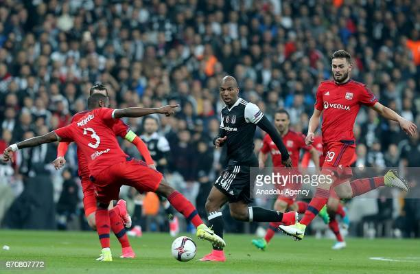 Ryan Babel of Besiktas in action against Nicolas Nkoulou the match between Besiktas and Olympique Lyonnais UEFA Europa League quarter final second...