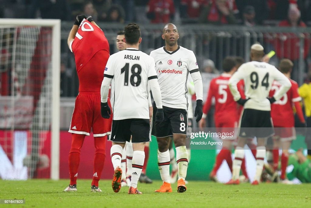 Ryan Babel (8) of Besiktas is disappointed after the UEFA Champions League Round of 16 soccer match between FC Bayern Munich and Besiktas at the Allianz Arena in Munich, Germany, on February 20, 2018.