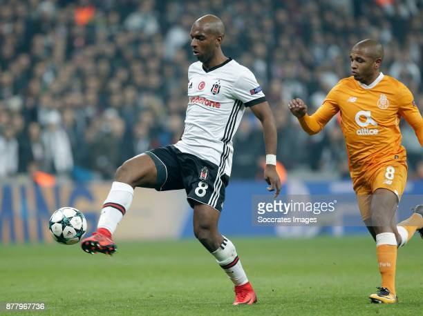 Ryan Babel of Besiktas Yacine Brahimi of FC Porto during the UEFA Champions League match between Besiktas v FC Porto at the Vodafone Park on November...