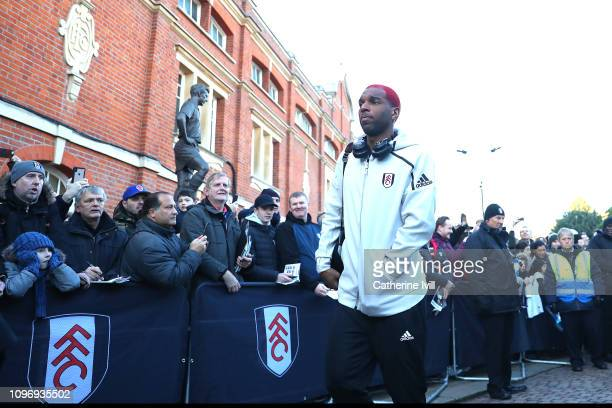 Ryan Babel of Fulham arrives ahead of during the Premier League match between Fulham FC and Tottenham Hotspur at Craven Cottage on January 20 2019 in...