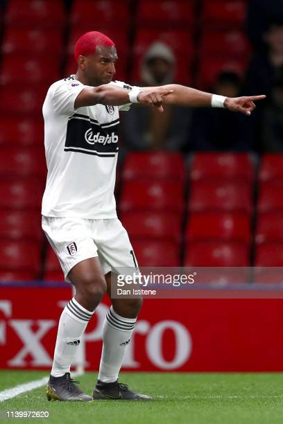 Ryan Babel of Fulham celebrates after scoring his team's first goal during the Premier League match between Watford FC and Fulham FC at Vicarage Road...