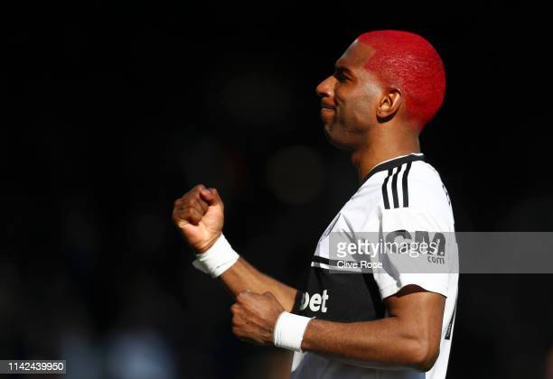 Ryan Babel of Fulham celebrates after scoring his team's second goal during the Premier League match between Fulham FC and Everton FC at Craven...
