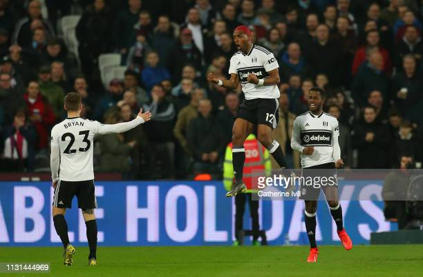 Ryan Babel of Fulham celebrates scoring his side's first goal during the Premier League match between West Ham United and Fulham FC at the London...