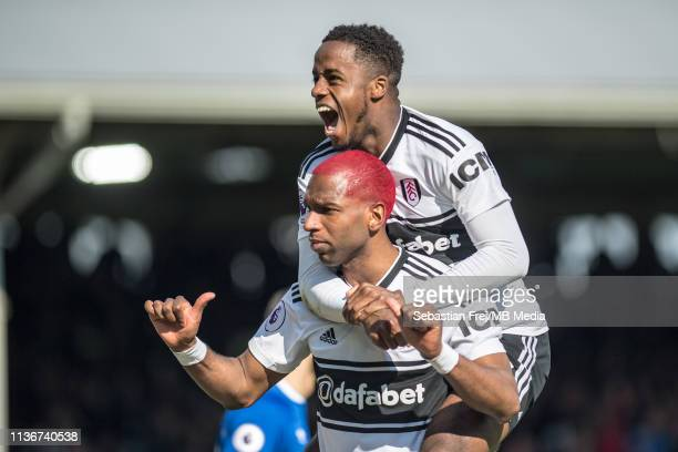 Ryan Babel of Fulham FC celebrate with his team mate Ryan Sessegnon after scoring goal during the Premier League match between Fulham FC and Everton...