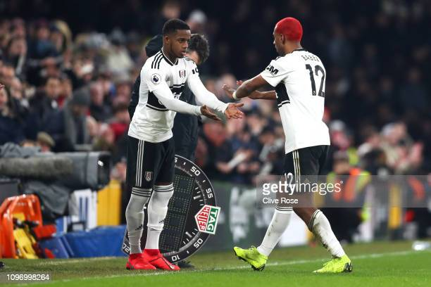 Ryan Babel of Fulham is replaced by Ryan Sessegnon of Fulham during the Premier League match between Fulham FC and Tottenham Hotspur at Craven...