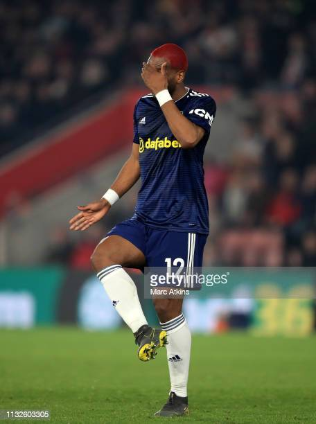 Ryan Babel of Fulham reacts during the Premier League match between Southampton FC and Fulham FC at St Mary's Stadium on February 27 2019 in...