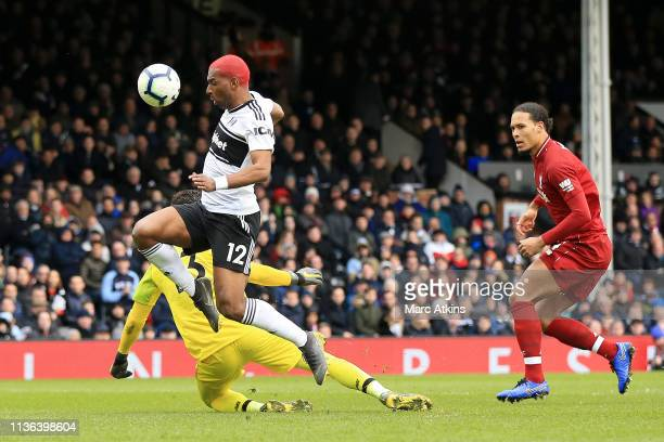 Ryan Babel of Fulham scores his sides first goal during the Premier League match between Fulham FC and Liverpool FC at Craven Cottage on March 17...