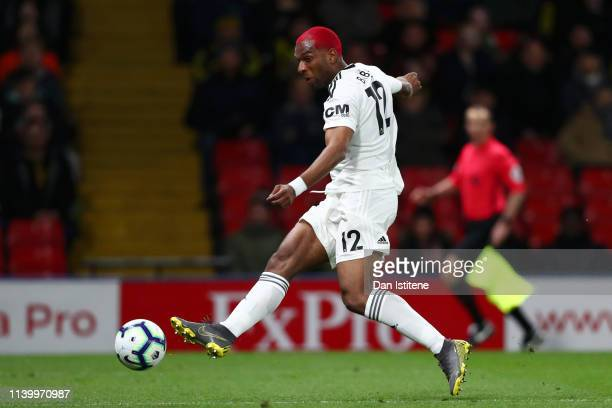 Ryan Babel of Fulham scores his team's first goal during the Premier League match between Watford FC and Fulham FC at Vicarage Road on April 02, 2019...