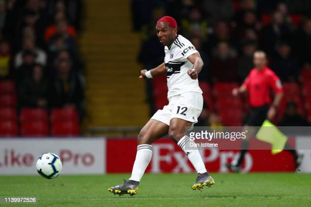 Ryan Babel of Fulham scores his team's first goal during the Premier League match between Watford FC and Fulham FC at Vicarage Road on April 02 2019...