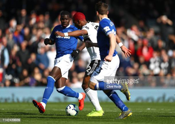 Ryan Babel of Fulham scores his team's second goal during the Premier League match between Fulham FC and Everton FC at Craven Cottage on April 13...