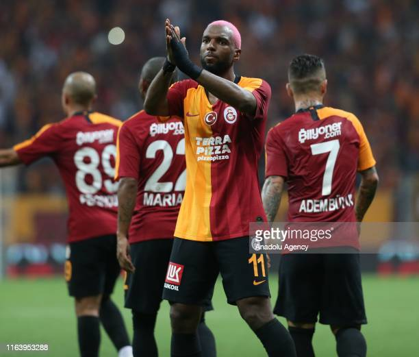 Ryan Babel of Galatasaray celebrates with his teammates after scoring a goal during the Turkish Super Lig soccer match between Galatasaray and...