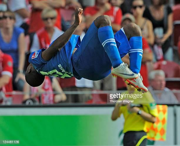 Ryan Babel of Hoffenheim celebrates after scoring his teams thrid goal during the Bundesliga match between FSV Mainz 05 and TSG 1899 Hoffenheim at...
