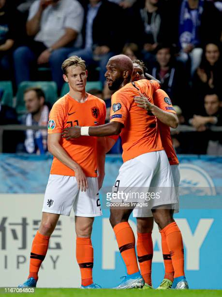 Ryan Babel of Holland celebrates 01 with Frenkie de Jong of Holland Daley Blind of Holland during the EURO Qualifier match between Estonia v Holland...