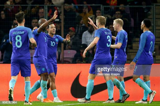 Ryan Babel of Holland celebrates 02 with Davy Propper of Holland Memphis Depay of Holland Matthijs de Ligt of Holland Donny of de Beek of Holland...