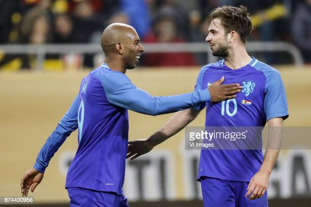 Ryan Babel of Holland Davy Propper of Holland during the friendly match between Romania and The Netherlands on November 14 2017 at Arena National in...