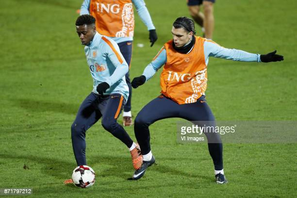 Ryan Babel of Holland Karim Rekik of Holland during a training session prior to the friendly match between Scotland and The Netherlands on November...