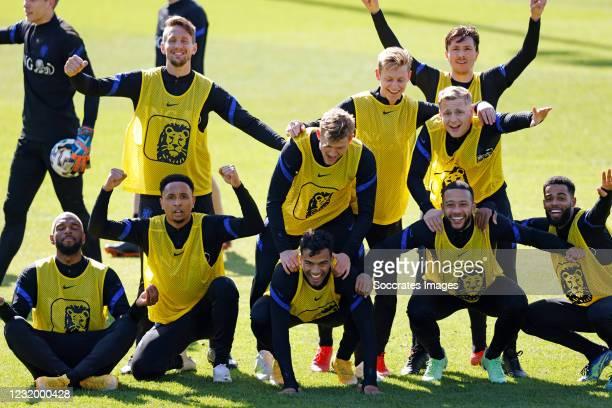 Ryan Babel of Holland Kenny Tete of Holland, Owen Wijndal of Holland, Matthijs de Ligt of Holland, Frenkie de Jong of Holland, Donny van de Beek of...